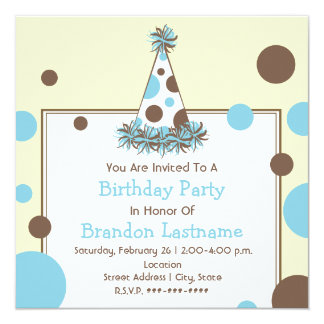 Blue & Brown Polka Dot Party Hat Birthday Card