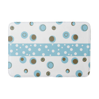 Blue Brown Polka Dots Bathroom Bath Mat