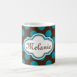 Blue Brown Polka Dots Quatrefoil Nameplate Coffee Mug