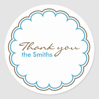 Blue Brown Scallop Thank You Stickers