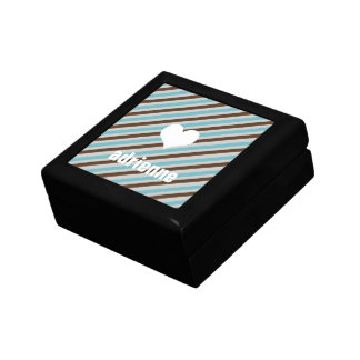 Blue brown stripes modern heart chic trinket box