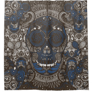 Blue & Brown Sugar Skull Line Art
