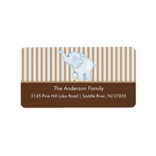 Blue & Brown Sweet Baby Elephant Address Label