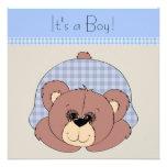 Blue Brown Teddy Bear Baby Boy Shower
