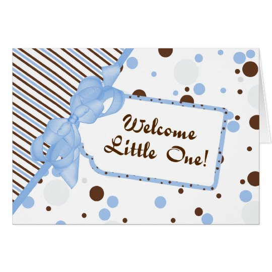 Blue & Brown Welcome Little One Baby Congrats Card