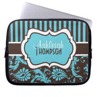 Blue Brown White Striped Damask Laptop Sleeve