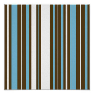 Blue, Brown, White Stripes Scrapbook Paper Poster