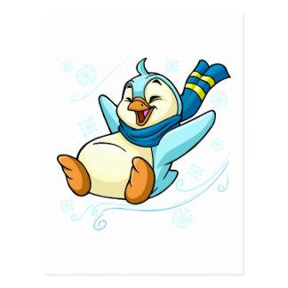 Blue Bruce sliding across ice Postcard