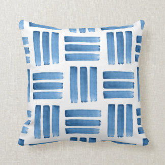 Blue Brushstrokes Pattern Throw Pillow