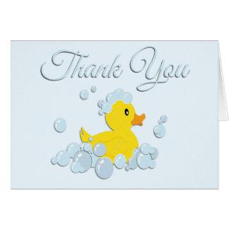 Blue Bubble Bath Baby Thank You Blank Inside Card