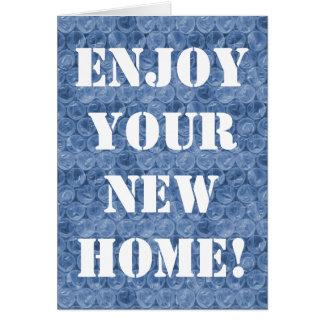 Blue bubble wrap housewarming card