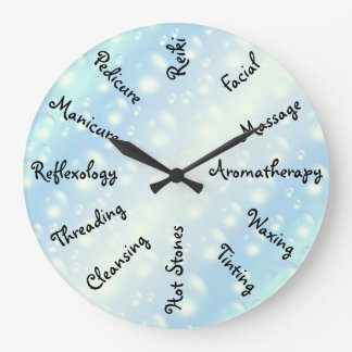 Blue Bubbles Beauty Therapy design Large Clock