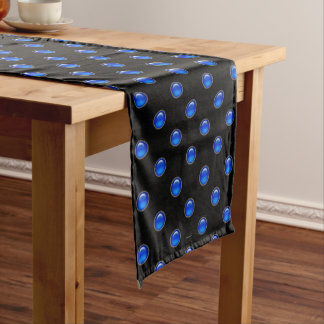 Blue Bubbles Black Medium Table Runner