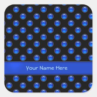 Blue Bubbles Black Square Sticker