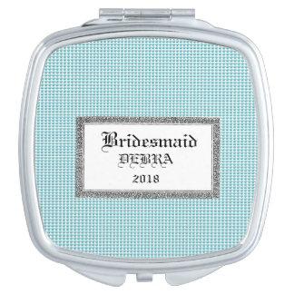Blue-Bubbles-Favors-Monogram-Template-Celebration Mirror For Makeup