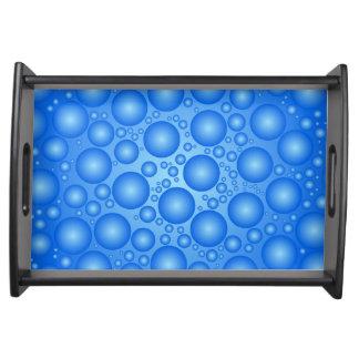 Blue bubbles pattern serving tray