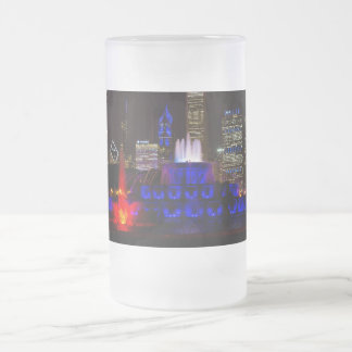 Blue Buckingham Fountain Frosted Glass Beer Mug