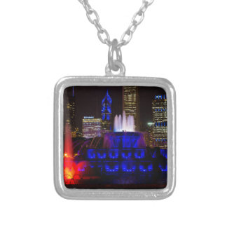 Blue Buckingham Fountain Silver Plated Necklace