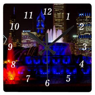 Blue Buckingham Fountain Square Wall Clock