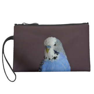 Blue Budgie Bird Animal Suede Wristlet