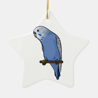 Blue Budgie Ceramic Ornament