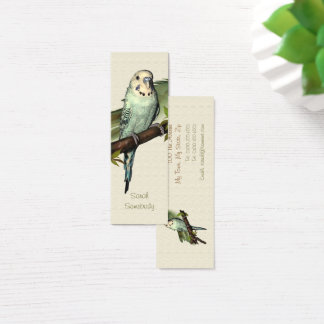 Blue Budgie Skinny Bookmark Mini Business Card