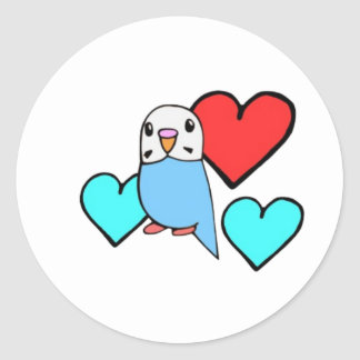 Blue Budgie with Hearts Classic Round Sticker