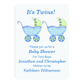Blue Buggy Carriage Twin Boys Baby Shower Card