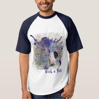 Blue Bull Terrier Newsprint Baseball t-shirt