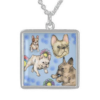 Blue Bullies at Play Sterling Silver Necklace
