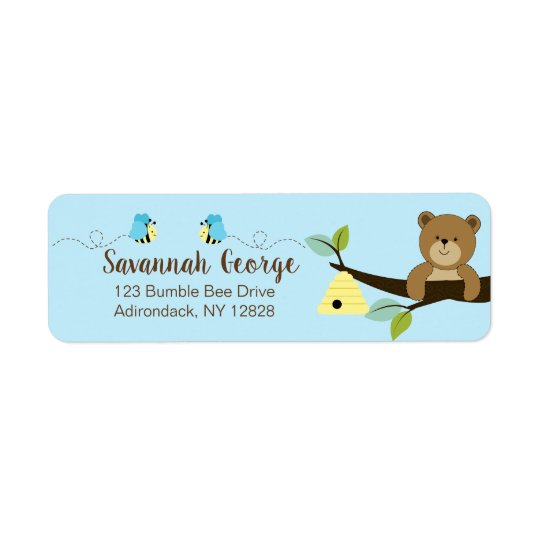 Blue Bumble Bee and Honey Bear Address Labels