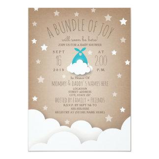 Blue Bundle of Joy Clouds + Stars Baby Shower Card