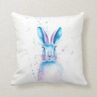 "Blue Bunny Cotton Throw Pillow 16"" x 16"""