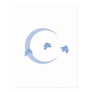 BLUE BUNNY MOON POSTCARD