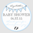 Blue Bunting Baby Footprints Shower Thank You Classic Round Sticker