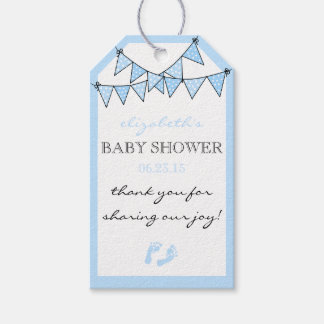 Blue Bunting Flags Baby Shower Thank You Gift Tags