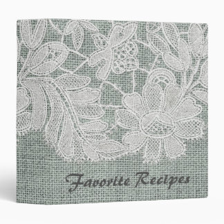 Blue Burlap and Lace Recipe Binder