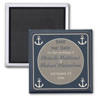 Blue Burlap Ship's Anchor Nautical Save the Date Square Magnet