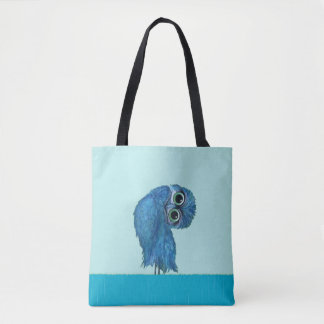 Blue Burrowing Owl Coastal Art Tote Bag