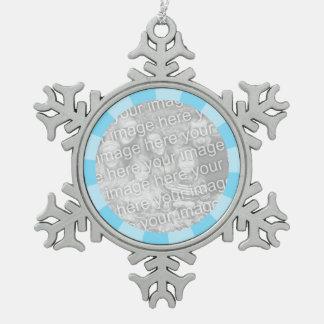 Blue Burst Round Border Pewter Snowflake Ornament