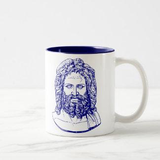 blue bust of Zeus mug