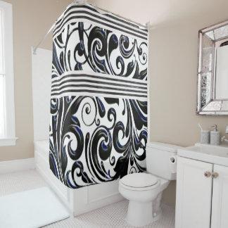 blue busy pattern swirls white shower curtain