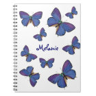 Blue Butterflies And Custom Name Notebook