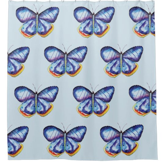 Blue butterflies art Shower Curtain