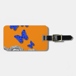 Blue Butterflies Black Roses Luggage Tag