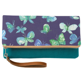 Blue Butterflies Clutch Purse
