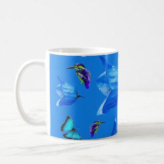Blue Butterflies Kingfishers And Bell Flowers, Coffee Mug