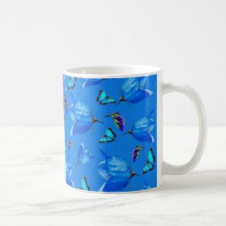 Blue Butterflies, Kingfishers, And Bell Flowers, Coffee Mug