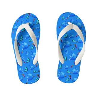 Blue Butterflies, Kingfishers, And Bell Flowers, Kid's Flip Flops