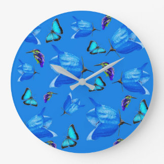 Blue Butterflies, Kingfishers, And Bell Flowers, Large Clock